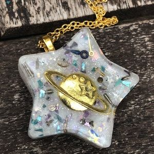 Handmade resin galaxy moon star pastel necklace
